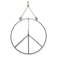 round metal peace sign jute rope