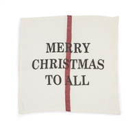 linen napkin cream red christmas dish towel