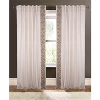natural curtain drapery panels embroidered