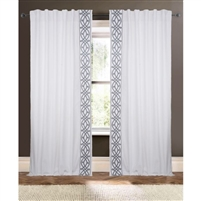 white curtain drapery panels embroidered
