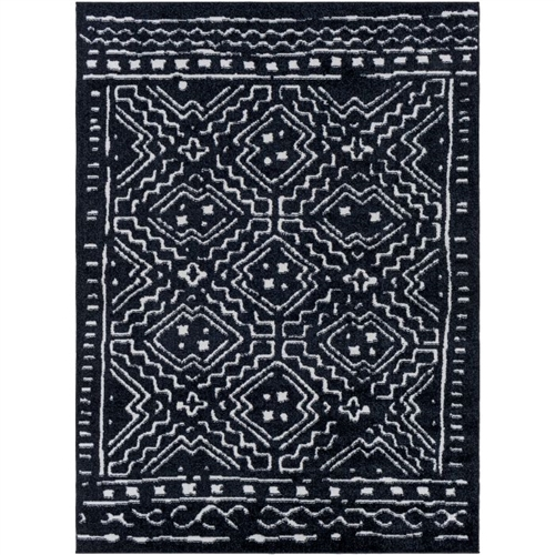black white patterned area rug rectangle woven