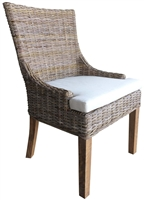 Luxury Designer Padma's Plantation Set of 2 Dining Chairs Grey Kubu Rattan Alfresco