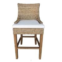barstool natural rattan woven curved back white seat cushion wood legs Padma's Plantation