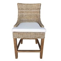 natural grey Kubu woven wicker counter stool  curved back white seat cushion wood legs Padma's Plantation