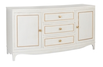 buffet server cabinet shite two cabinets three drawers white gold accent four legs