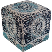 floor pouf teal navy cream