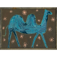 framed art print camel stars brown teal