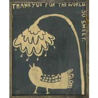 framed art print thank you bird flower