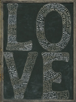 LOVE quotes bubble letters black + white grey wood frame wall art