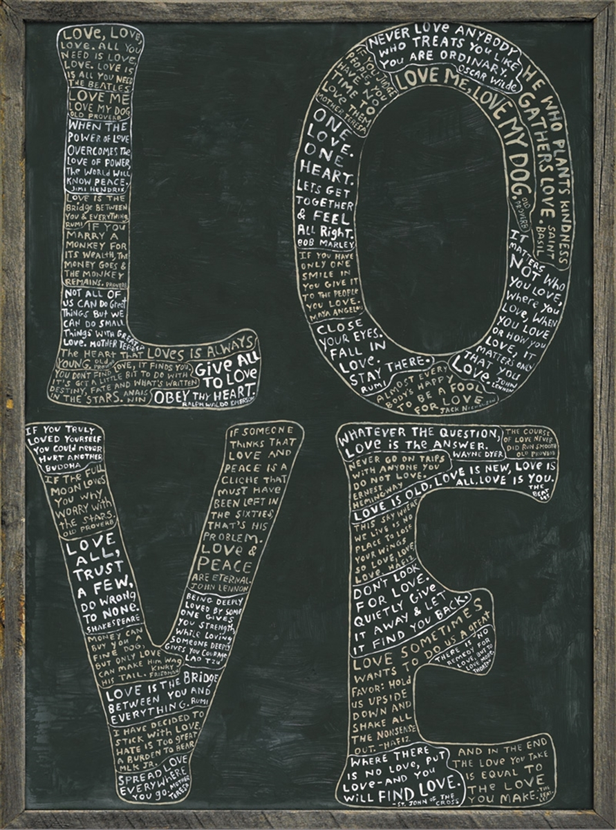 Sugarboo Co Wall Art Love Wood Frame Love Quotes Art