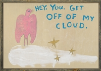 pink bird white cloud gold stars wall art grey wood frame get off of my cloud