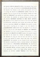 we believe manifesto framed wall word art