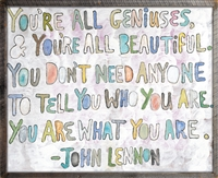 wall art john lennon bubble letters geniusis grey wood frame