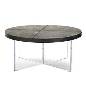 Zentique coffee cocktail table round circular transitional zinc patchwork acrylic X base
