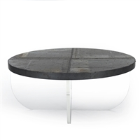 Zentique coffee table cocktail metal zinc nail heads X base acrylic transitional round