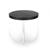 Zentique accent side end table round metal zinc nail heads acrylic X base transitional