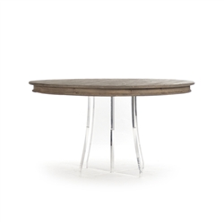 Zentique dining table round wood birch acrylic glass transitional
