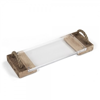 Zentique tray serving acrylic reclaimed wood rope handles rustic transitional cheese board glass