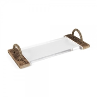 Zentique serving cheese board tray acrylic glass reclaimed wood rope