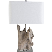 organic white linen shade crystal finial wood