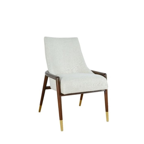 chair walnut frame off white textured fabric seat