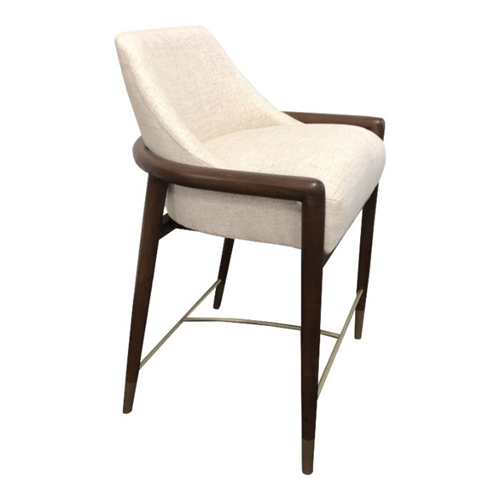counter stool walnut frame off white textured fabric seat