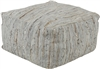 Leather Pouf Woven Ottoman Light Gray