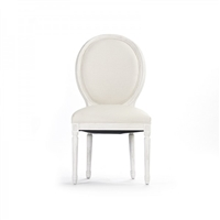 chair side dining medallion oval back antiqued white carved wood white cotton heavy upholstery