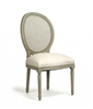 chair side dining medallion oval back antiqued olive green birch carved wood cane back natural linen
