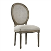 Zentique chair upholstered seat ivory linen caned medallion back natural oak frame