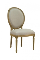 chair side dining medallion oval back natural oak carved wood linen