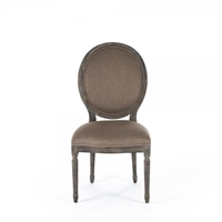 chair side dining medallion oval back limed gray oak carved wood copper linen