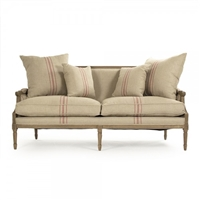 sofa six legs oak red stripe khaki linen toss pillows  two cushion settee farmhouse