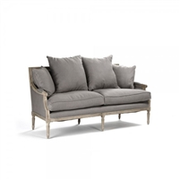 sofa six legs oak limed grey linen toss pillows French two cushion settee