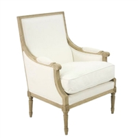 Zentique chair formal French inspired natural oak frame white cotton club chair