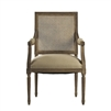 Zentique arm chair wood limed gray oak frame natural linen square cane back arm pads