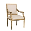 chair arms upholstered off-white linen natural wood oak carved padded square back