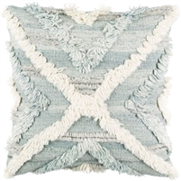 light blue, gray, and cream fringed accent pillow