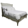 bed king wood cream upholstered headboard cabriole legs