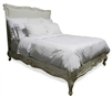 bed queen wood cream upholstered headboard cabriole legs
