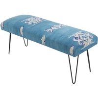Upholstered Bench Hairpin Legs Aztec Pattern Fabric Blue