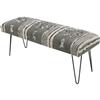 Upholstered Bench Hairpin Legs Aztec Pattern Fabric Gray Stripe