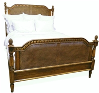 Bay Queen Bed - Queen Bed with Caned Headboard + Footboard