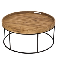 round teak tray top coffee table black powder coated iron base