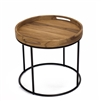 round teak tray top end accent table black powder coated iron base