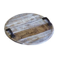 Round Repurposed Bourbon Head Tray Original Stamp Rustic Handles