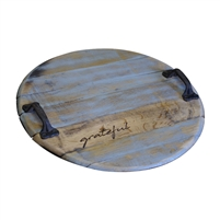 bourbon head tray two handles round stamp rustic