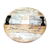 rustic round wood tray handles white washed personalized