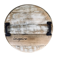 round repurposed bourbon barrel tray inspire rustic off-white wash finish