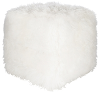 square cube pouf cream sheepskin